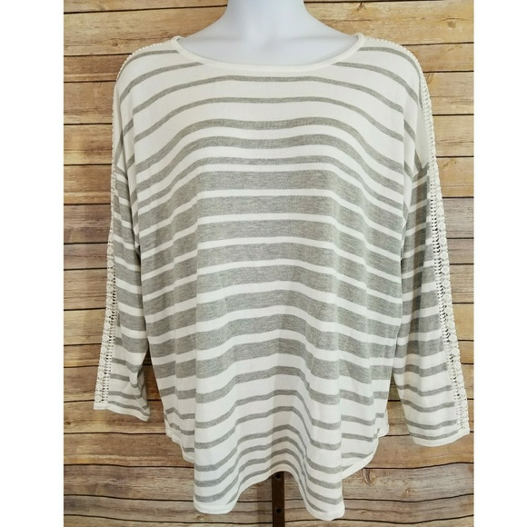 3cc263b6a91b6 Lane Bryant 26 28 Gray Striped Long Sleeve Top